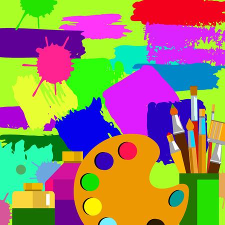 farbe, farbe, bürste, vektor, zusammenfassung, entwurf, hintergrund, malerpinsel, kunst