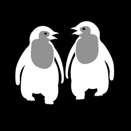 penguin, cute, illustration, vector, cartoon, white, black, bird, happy, animal