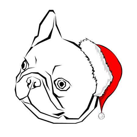 French bulldog Portrait in a Santas hat . Vector illustration.