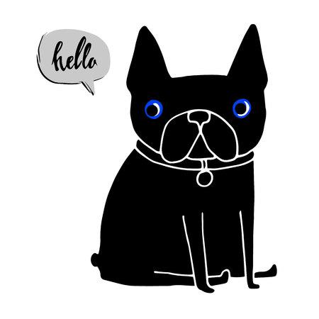 brown haired: dog, vector, breed, cute, pet, animal, bulldog, french, french bulldog