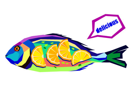 Vector illustration of a composition with fish cooking preparation