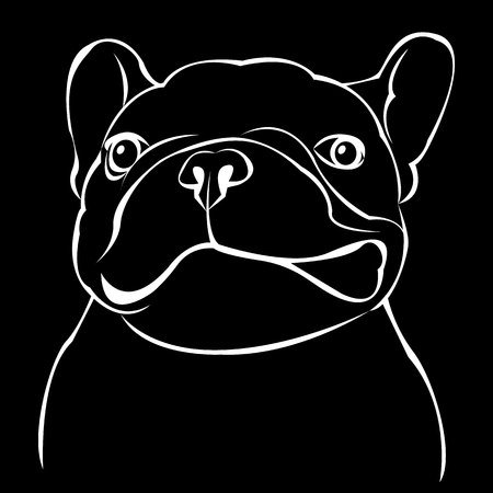 dog, vector, breed, cute, pet, animal, bulldog, french