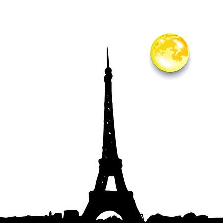 Eiffel Tower Black Silhouette Vector Illustration