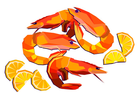 dietary: shrimp vector seafood illustration food prawn restaurant fork Illustration