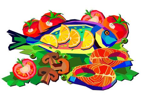 fish lemon tomato dish seafood shrimp vector salmon illustration tasty fish