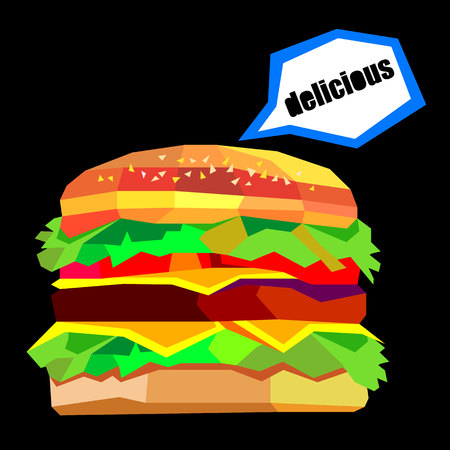 bun: illustration of a burger, vector drawing burger cheeseburger sandwich