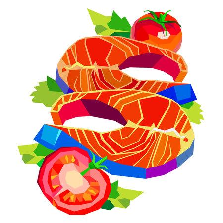 salmon steak: fish lemon tomato dish seafood vector salmon illustration tasty fish Illustration