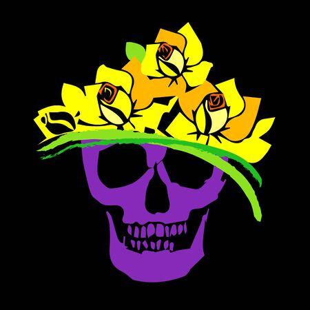 skull vector dead skeleton halloween illustration, flower