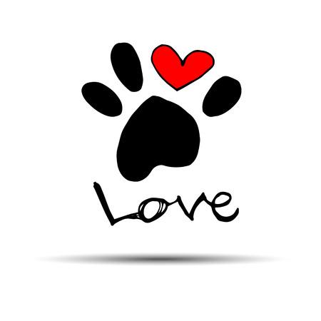 Hond voetafdruk print pot voet vorm illustratie huisdier dierlijk hart