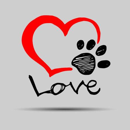 dog footprint print paw foot shape illustration pet animal heart Vetores