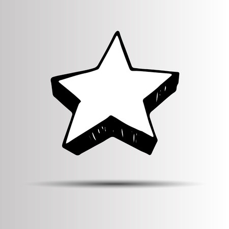 vector icon. shiny golden star icon on white background Illustration