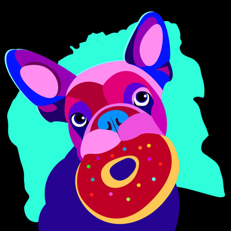 companion: bulldog, dog, animal, french, vector, illustration, pet, breed, cute, drawing, puppy