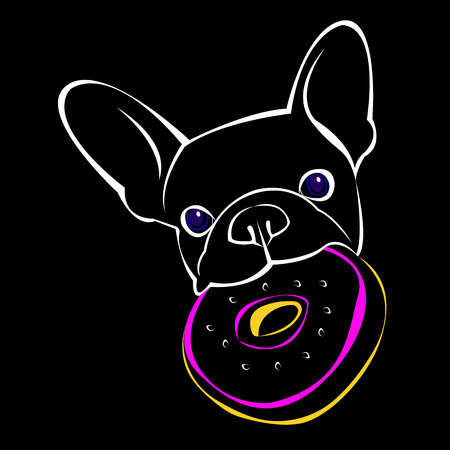 vector close up portrait of the domestic dog French Bulldog breed Illustration