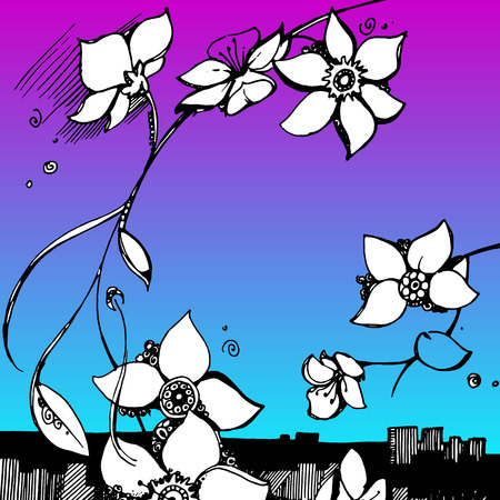 linearity: floral flower spring summer background botanical garden art nature Illustration