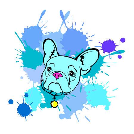 dog vector breed cute pet animal bulldog french Çizim