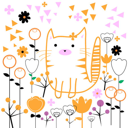 weeds: cat vector kitten animal flowers weeds tale