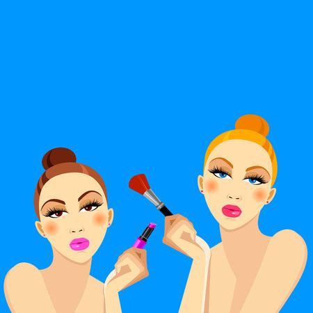 cosmetics, design, glamour, brush, care, skin, beautiful, face, woman, set Illustration