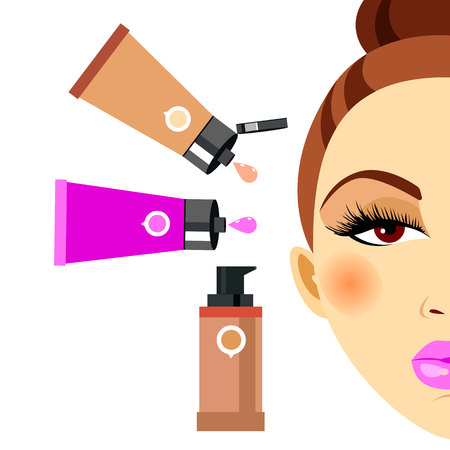 cosmetics, design, glamour, brush, care, skin, beautiful, face, woman, set Illustration