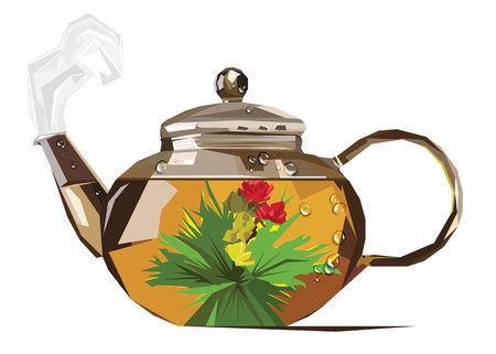 modern kitchen: vector pairs brew tea kettle drops stylized Illustration