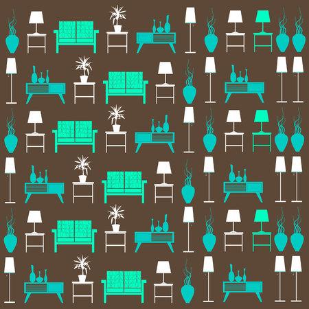 living room wall: vector interior home furniture design illustration modern