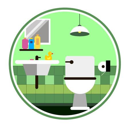 Vektor Toilette Bad Waschbecken Seife Spiegel