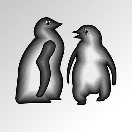 penguin cute illustration vector cartoon white black