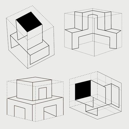 illustratio: box cube carton tray safe symbol illustratio