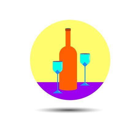 wine glass alcohol bottle drink vector white beverage illustration