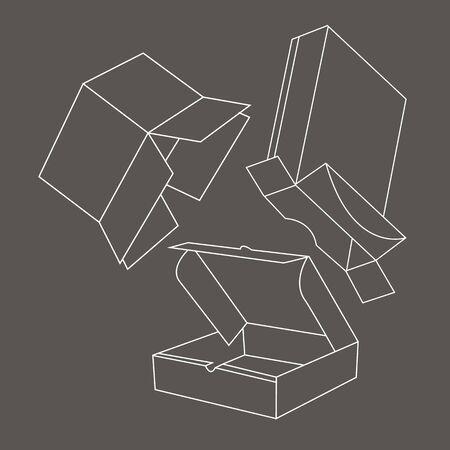 stockpile: box vector gift set shape illustration package carton open