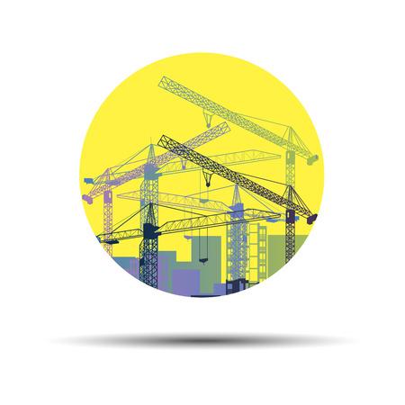 vector construction crane silhouette industry illustration architecture Illustration