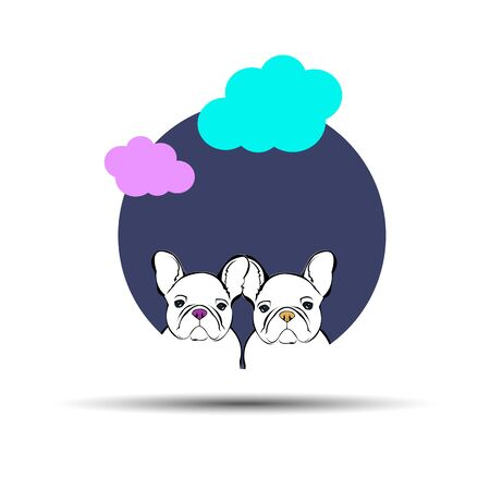 frenchie: dog vector breed cute pet animal bulldog french Illustration