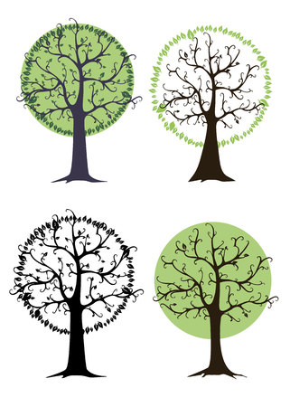 tree crown logo vector green leaf square