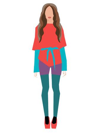 vector girl female stockings fashion illustration woman