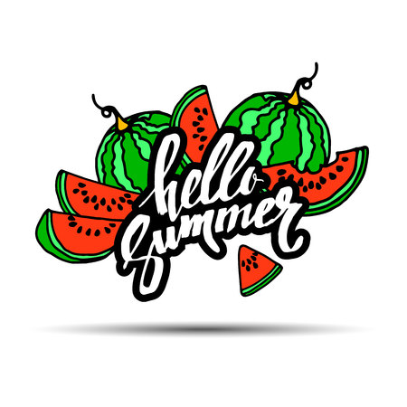 Hello Summer inscription on the background of watermelon. Fashionable calligraphy. summer, illustration, fruit, hello, watermelon, season