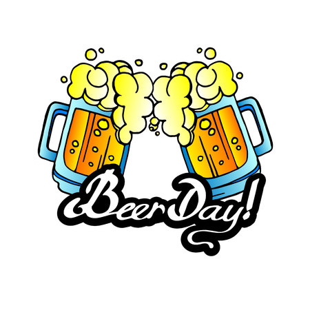 Retro beer vector poster. Vintage poster template for cold beer. day beer