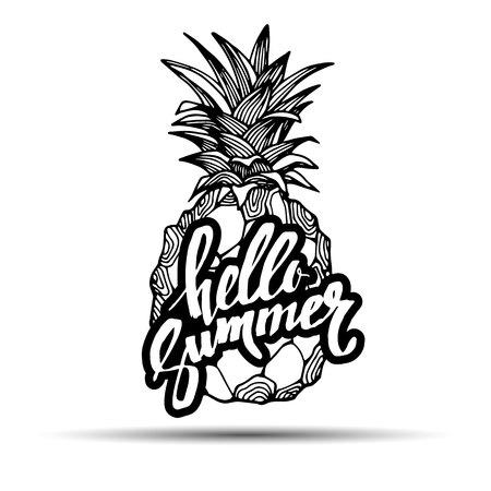 pineapple, vector, fruit, food, tropical, summer, design, illustration, background, sweet Illustration