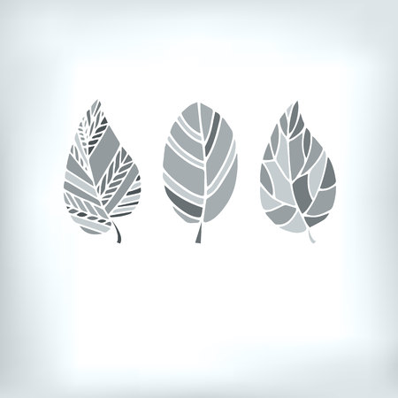 vector spring organic silhouette white pattern eco natural gray Illustration