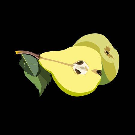 pear green vector leaf healthy apple fruits Illustration