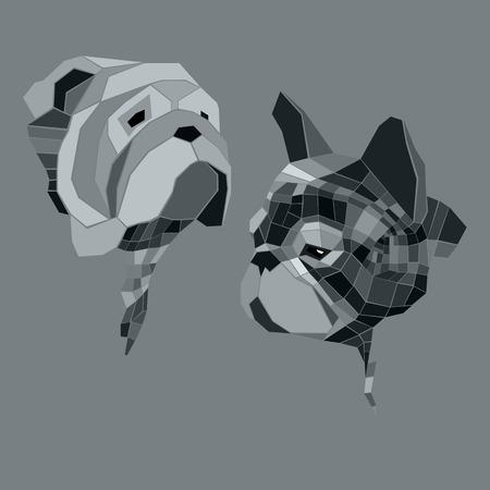 Hond vector ras schattig huisdier bulldog Franse Franse Bulldog kleine illustratie