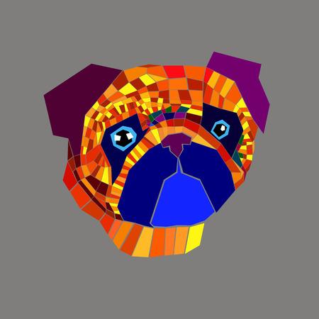 pug dog vector breed illustration purebred animal cartoon graphic