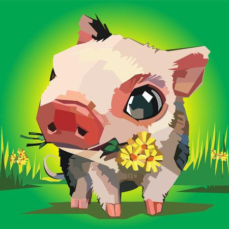Vector illustration of cartoon pig flowers grass Illustration
