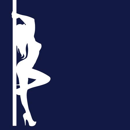 pole girl illustration dancer strip vector stripper silhouette sexy club Ilustrace