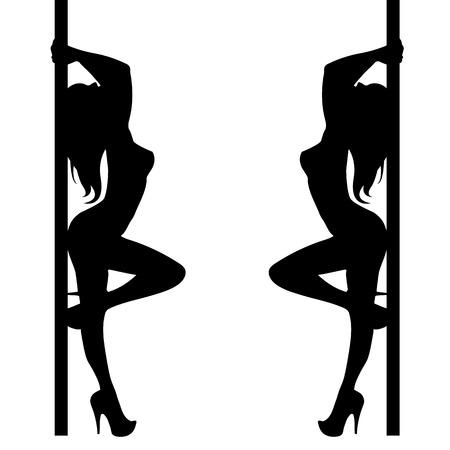 pole girl illustration dancer strip vector stripper silhouette sexy club Vettoriali