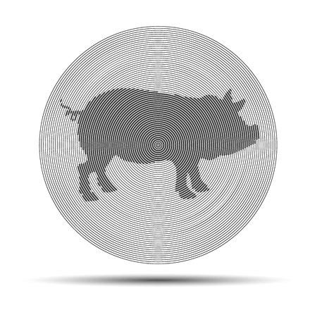 Cut of meat set. Vintage typography hand drawn. Vector illustration. Pork pig bacon meat Illustration