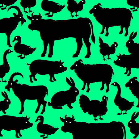 Farm animals. Retro styled farm animals silhouettes collection for groceries, meat stores, packaging and advertising.