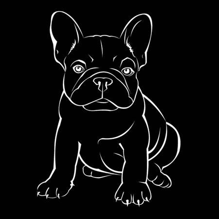 dog vector breed cute pet animal bulldog french Stock Illustratie