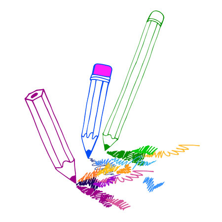 writing instruments: pencil vector illustration design school object art Illustration