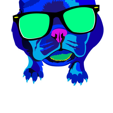 short haired: dog vector breed cute pet animal bulldog french Illustration