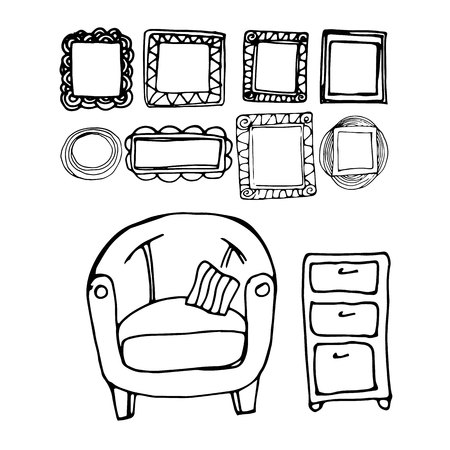 modern living room: vector interior home furniture design illustration modern