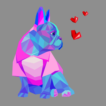Pies wektor rasy cute zwierząt domowych Bulldog francuski Ilustracje wektorowe